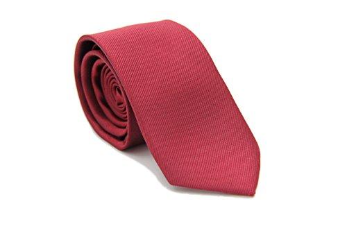 Novel Hochwertige Seidenkrawatte | Handgefertigt aus 100% Seide | Schmale Herren Krawatte Schlips | 6 cm breit | Einfarbige Business-Krawatte | Farben: Bordeaux Rot und Royal Blau