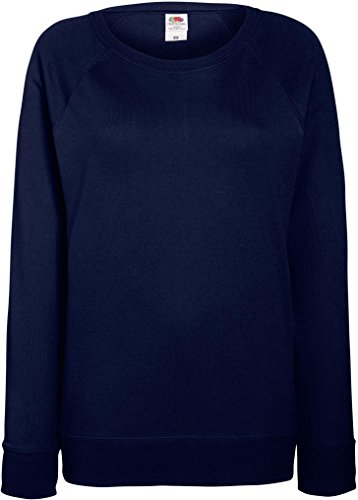 Fruit of the Loom Lady-Fit Lightweight Raglan Sweat 62-146-0 S,Deep Navy (Raglan Navy Womens)