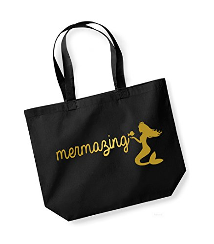 Mermazing - Large Canvas Fun Slogan Tote Bag Black/Gold