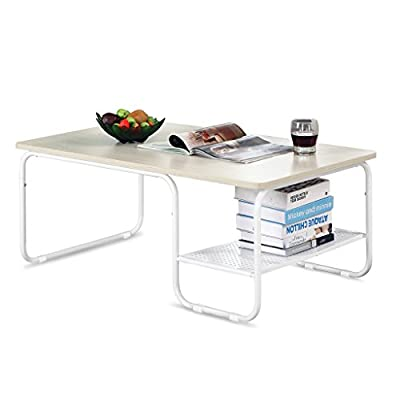 LANGRIA Modern Rectangular Side Tea Coffee Table Set with Lower Shelf, Max 308 lbs. /140kg Capacity, White - inexpensive UK light store.