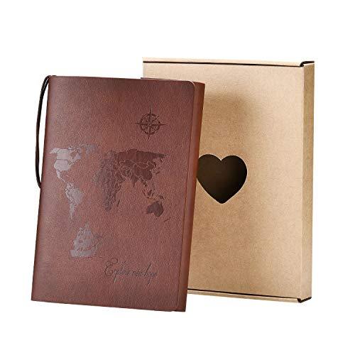 SEEALLDE Leder Notizbuch A5 Leere Seiten Journal Notebook