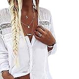 SEWORLD Damen Mode Freizeit Oberteile Bluse Herbst Einzigartig Frauen Strand Damenmode Lässige Lose Langarm V-Ausschnitt Streifen Mode Bluse T-Shirt Bluse Tank Tops(Weiß,EU-38/CN-L)