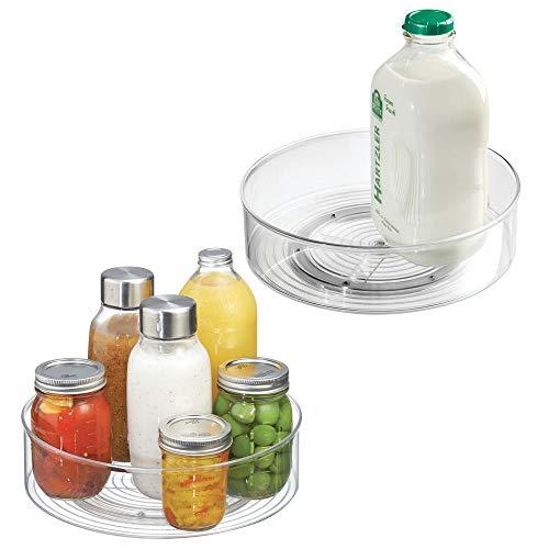mDesign 2er-Set Lazy Susan Drehteller – praktischer Organizer für Kühlschrank, Speisekammer, Küchenschrank – durchsichtig