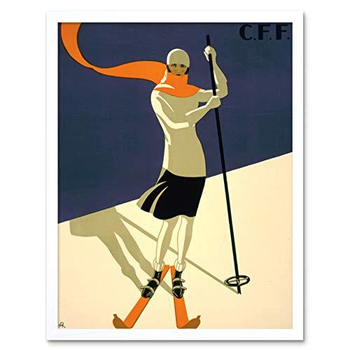 Wee Blue Coo LTD St Croix Switzerland Alpine Ski Art Print Framed Poster Wall Decor 12x16 inch Schweiz Alpin Wand Deko -