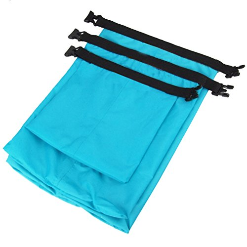 WINOMO 3pcs wasserdichte trockene Beutel-Aufbewahrungsbeutel-Beutel für kampierendes Bootfahren Kayaking Rafting Fischen (Himmel-Blau)