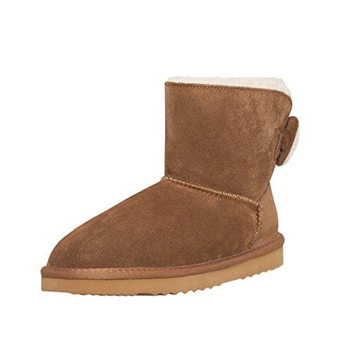 SKUTARI Luxuriöse Nieten Biker Bow Schlupfstiefel Warm Gefüttert Fell Wildleder Stiefel Boots (39, Camel/5029) (Camel Stiefel Wildleder)