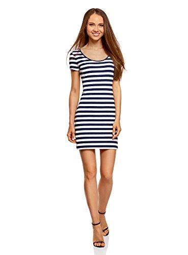 oodji Ultra Damen Enges Jersey-Kleid, Blau, DE 38 / EU 40 / M (Kurz-blazer Wildleder)