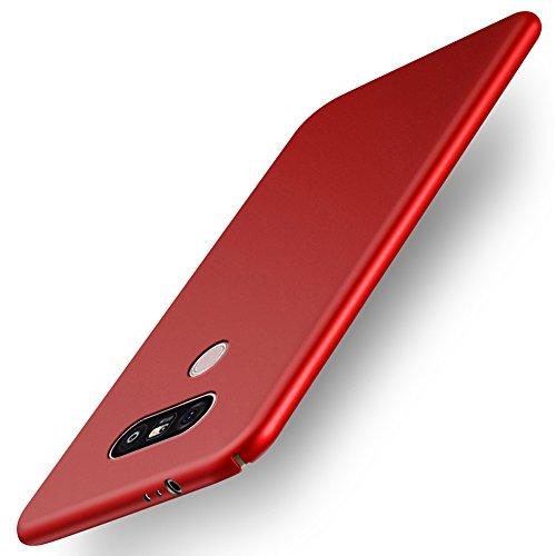 INSOLKIDON Kompatibel mit LG G6 Hülle PC Hart Zurück Abdeckung Telefon Schutz Schale Ultra Dünn Schwer Schutz Stoßstange Fall Anti-Fall Kratzfest (rot) - Telefon-abdeckung Kartenhalter