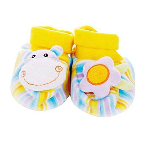 DEHANG - Chaussettes d'éveil avec Hochet 3D antidérapants - Taille 0-24 mois pour Bébé Animal (Girafe) Hippopotame