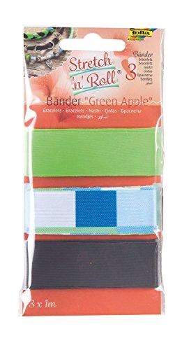 folia 93305 - Armbandbastelset Strech und Roll - Bänder Green Apple, mehrfarbig