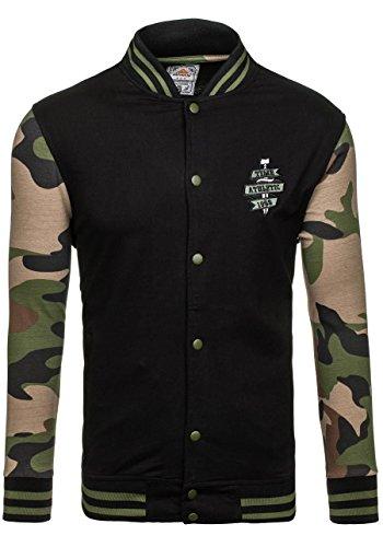 BOLF Herren Sweatshirt Sweatjacke Langarmshirt Stehkragen Zip 1A1 MIX Schwarz_0766