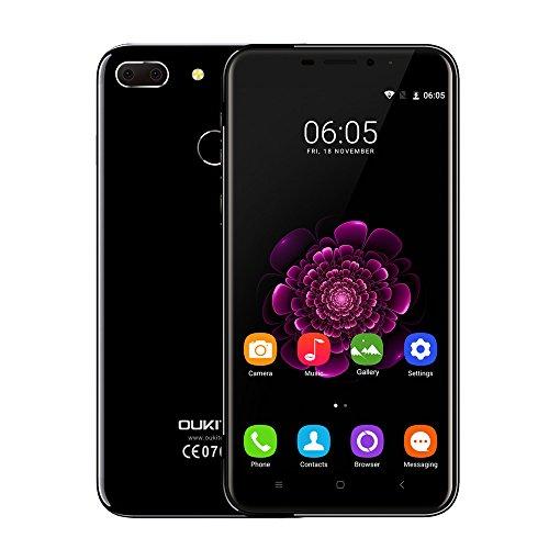Oukitel U20 Plus 4G Smartphone Ohne Vertrag - 5.5 Zoll FHD Android 6.0 13.0MP+0.3MP Dual-Lens Hauptkamera Quad-Core 1,5 GHz CPU 2GB RAM+16GB ROM 3300mAh Batterie Fingerabdrucksensor, Piano Black