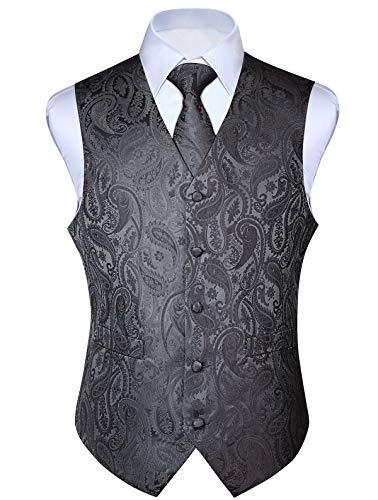 Elfenbein Weste (ENLISION Herren Floral Weste Jacquard Hochzeit Krawatte & Einstecktuch Weste Suit Set)