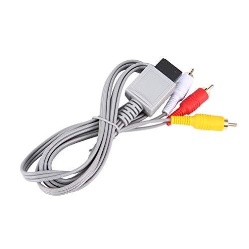 DERNON 1,8 Meter vergoldetes Audio-Video-AV-Composite-3-Cinch-Kabel für Nintend Wii weiß grau