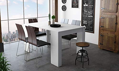 Home Innovation - Table Console Extensible, rectangulaire avec rallonges, jusqu'à 140 cm, pour Salle à Manger et séjour, Blanc Brillant. jusqu´à 6 Personnes.