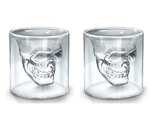 (Yeme Kristallschädel Kopf Wodka Schuss Glas Wein Bar Cup 75ml (2.5 ounces) Set Two)