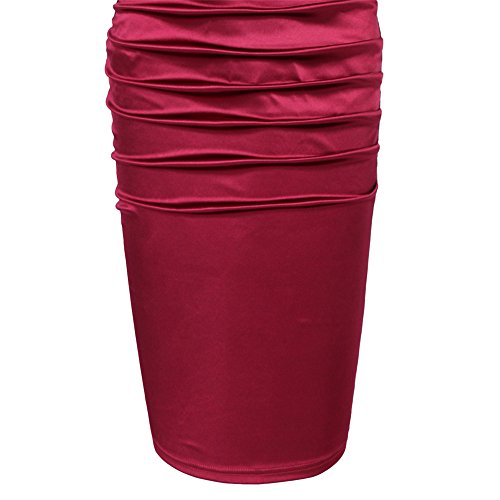 CHEZ Bobos donna pizzo anteriore Contrast 3/4maniche abito a tubino Wine Red