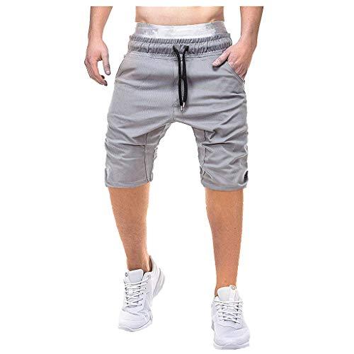 7 Pocket-cargo-shorts (GreatestPAK Herren Lässig Einfarbig Pocket Overalls Cargo Shorts Tether Kurze Hosen,Grau,EU:S(Tag:L))