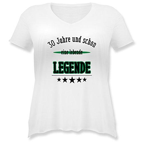 Geburtstag - 30.Geburtstag Legende Fun Geschenk - Weit geschnittenes Damen Shirt in großen Größen mit V-Ausschnitt Weiß