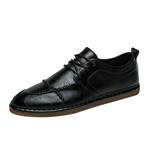 Anguang uomo stringata scarpe sportive business piatto pu pelle mocassini scarpe da guida nero
