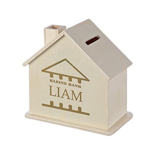 Spardose Haus mit Gravur - Sparbüchse aus Holz - Geschenk für jeden Anlass - Motiv kleine Bank