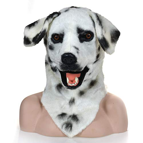 Frauen Kostüm Dalmation - XIANCHUAN Moving Mouth Fake Fur Grownup Kostüm Dalmation Spotted Dog Mask für Halloween lebensechte Funny Hairy Horror Creepy Mask (Color : White, Size : 25 * 25)