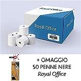 RoyalOffice 50 Rotoli Termici 80x80 Per Cassa - Confezione 50 Rotolini Carta Termica 80x80 mt Per Registratore Di Cassa, Scontrini Fiscali E Scommesse Più 50 Penne Royal Office Nere