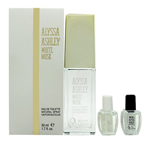 Alyssa Ashley White Musk EDT Spray, 50ml plus Öle, 5ml, 2Stück