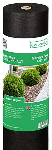 GardenMate® 1mx50m ROLLE Gartenvlies 50g/m² - Unkrautvlies Reißfestes Unkrautschutzvlies - Hohe UV-Stabilisierung - 1mx50m=50m²
