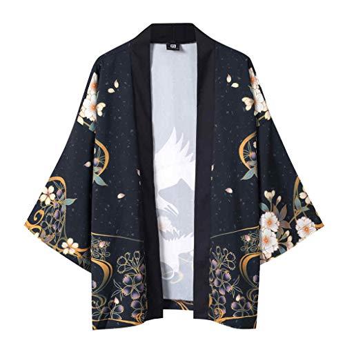 SSUPLYMY Freizeithemd Jacke Top Männer Oberhemden Moderne Casual Anzughemden Herren und Damen Bluse Sommer fünf Punkt Ärmel Mantel Kimono Ukiyo-e Roben Splash Kimono Robe Männer -