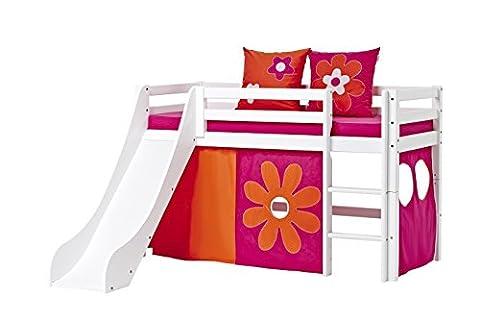 Hoppekids Basic-A5-3 Flower Power Textile und Matratze Halbhohes Bett mit Rutsche, Spiel-/Junior-/Kinder-/Jugendbett, Kiefer massiv, Liegefläche 70 x 160 cm, Holz, weiß, 168 x 175 x 105