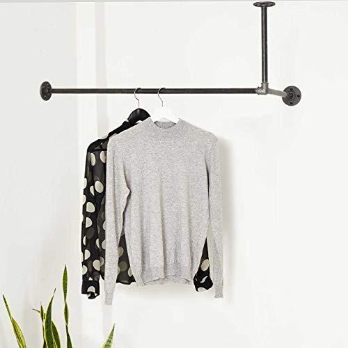 Various Garderobe Deckenmontage Industrie-Design - versch. Größen, z.B. 100 x 20 cm - Links o. rechts - Kleiderstange Wand Decke - schwarz, stabil
