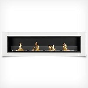 Luxury Gel Fireplace 4 Burners 162 cm Wall-mounted Fireplace Bio Ethanol White