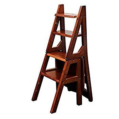 HBWJSH Holzklappleiter Stuhl 4 Bockleiter Hocker Multifunktionsleiter Home Office Tragbare Treppe Bank Erwachsenen Kletterwerkzeug