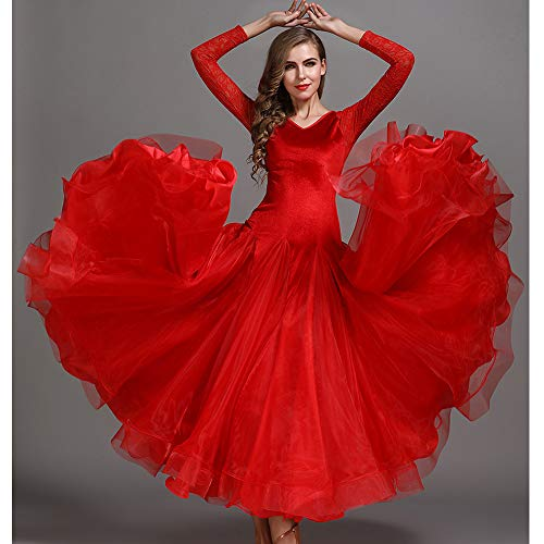 Herbst Winter Classic Dance Kleid Red Velvet Splicing Organza Latin Bauchtanz Kostüm Lange Ärmel Tango Ballroom Dancing Prom Kleid Plus Größe XL 2XL,L