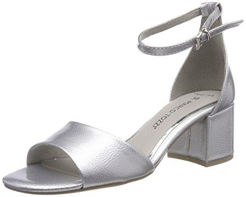 Marco tozzi 28316, sandali con cinturino alla caviglia donna, argento (silver patent), 40 eu
