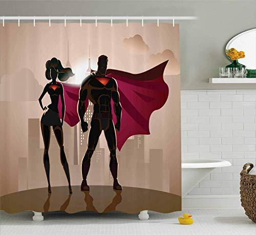Kostüm Super Männer Helden - vrupi Superheld Muster Duschvorhang Super Frau und Mann Held in der Stadt lösen Verbrechen heißes Paar in Kostüm Muster Tuch Badezimmer Dekoration Tuch Duschvorhang mit 12 Haken