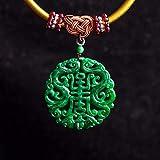 Mayanyan Jade Burma Jade trockene grüne Shou Marke antike Accessoires Anhänger voller grüner hohlen Quarzit Tamahisa Wort Runde Karte Pend Ameise Männer und Frauen Geschenke