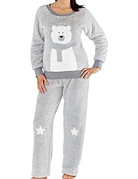 Orso polare Ladies 240GSM peluche grigio chiaro e bianco morbido cationico in pile e stelle Twosie Lounge Pyjammas...