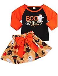 Preisvergleich für Hirolan Kleinkind 12 Monate - 4 Jahre Baby Mädchen Patchwork Lange Ärmel Shirt Bluse Hemd Tops Kürbis Cartoon...
