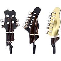 Gazechimp 3pcs Ganchos de Ropa Soporte de Sombrero Montado En Pared Cabezas de Guitarra Organización Hogar