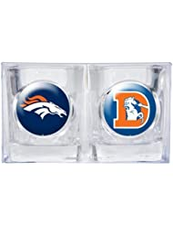NFL Denver Broncos Primary Logo Square Shot Glass Set-2 Pack by Great American Products