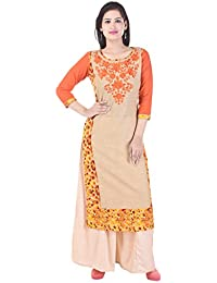 AQUILA Embroidered Cotton Round Neck Kurti With Beige Solid Rayon Palazzo.