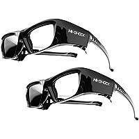 """2x Hi-SHOCK® RF Pro """"Black Diamond""""   Gafas 3D-RF para proyectores: EPSON®, JVC®, SONY®   compatibles con ELPGS03, EB-W16, EH-TW550, EH-TW570, EH-TW5910, EH-TW5100, EH-TW5200, EH-TW5300, EH-TW5350, EH-TW5210, EH-TW6100, EH-TW6600, EH-TW7200, EH-TW8100, EH-TW8200, EH-TW9100, EH-TW9200   optimiza la nitidez, brillo y contraste [Gafas de obturador   120 Hz   recargables   39g   RF estándar   Negro]"""