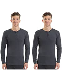 2COZEE® 2 Pack Mens/Gentlemens Thermal Underwear Grandad Button Top Long Sleeve Top Interlock 8 X 1 Various Colours & Sizes