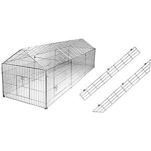 Freilaufgehege mit Ausbruchsperre 440 x 103 x 103 cm Freigehege für Kaninchen, Hasen, Hühner Gehege Auslauf Nager Freilauf Hasengehege Hühnergehege