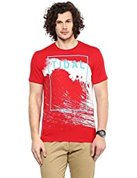 Wear Your Mind Red Cotton Round-Neck Printed T-shirt For Men TSS190.2
