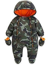 Bambino Tute da neve Neonato Hooded Pagliaccetti Body Overalls con Cerniera