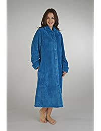 Ladies Luxury Waffle Fleece Button Through Dressing Gown - Crm, Blu, Red, Green