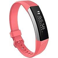FBGood Weiche Silikon Atmungsaktiv Uhrenarmband Ersatz Armband Handschlaufe Smart Watch Ersatzband für Fitbit Alta HR Smartwatch (Größe:L)